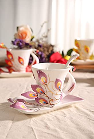 Panbado Peacock Mugs Hand Crafted China Enamel Porcelain Tea Mug Coffee Cup Set with Spoon and Saucer