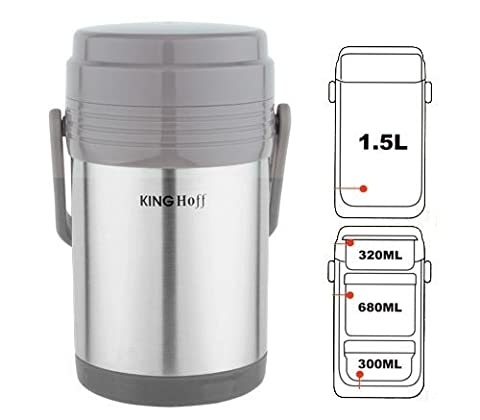 1.5 Liter Vacuum Flask For Food With 3 Container Stainless Steel Insulated Thermal Lunch Box