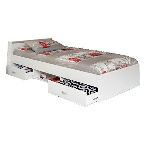 Funktionsbett Alawis 90*200 cm wei? inkl 2 Roll-Bettk?sten Kinderbett Jugendbett J...