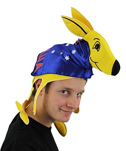 Chapeau de supporter de Rugby Australien. Un kangourou sur la tête vêtue d'une cape drapeau Australien.