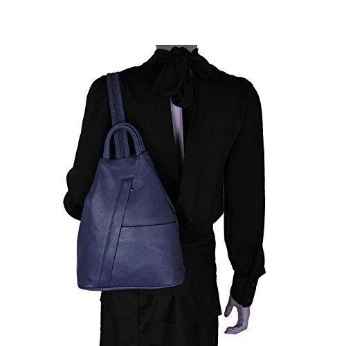 OBC Made in Italy Damen Echtleder Rucksack Minirucksack Lederrucksack Tasche Schultertasche Ledertasche Rucksack Handtasche Nappaleder (Dunkelblau/Navy)