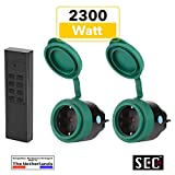 SEC24 - Funksteckdosen Set 2+1, für den Außenbereich / Outdoor, 2300 Watt, Plug & Play Funkschalt Set, Premium-Qualität, 24 monate garantie, schwarz/grün (matt), Spritzwassergeschützt - HAF780S