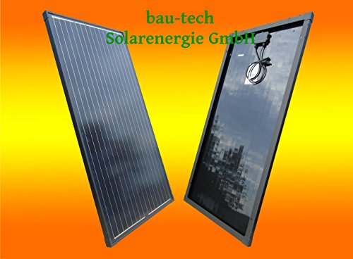 bau-tech Solarenergie 1 Stück 130W Full Black/Schwarzes Monokristallines Solarpanel 12V Solarmodul Solarzelle 100Watt für Camping, Caravan, Garten GmbH
