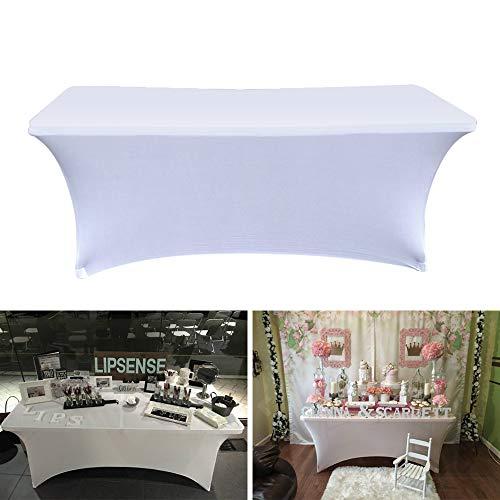 ele ELEOPTION Stretch Husse Rechteckige Tischhusse Premium Spandex Tischabdeckung Biertischhussen für 4 Fuß Tisch Waschbar Tischdecke für Küche Hochzeit Party Bankett (Weiß, 183 x 76 x 76 cm)