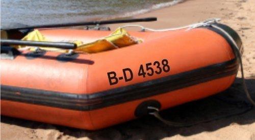 Shirtstown Schlauchboot Kennzeichen Bootsnummer 2 Stück, Bootbeschriftung, Nummern fürs Schlauchboot
