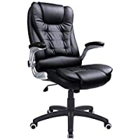 SONGMICS Office Chairs, Polyurethane, Black, Back 76 cm, Size: 54 x 51 cm (Width x Depth),Seat Height: About 45-55 cm