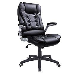 SONGMICS Bürostuhl mit hoher Rückenlehne, ergonomischer Chefsessel mit klappbaren Armlehnen, mit verdicktem Kopfkissen und Sitzpolster, schwarz, OBG51B