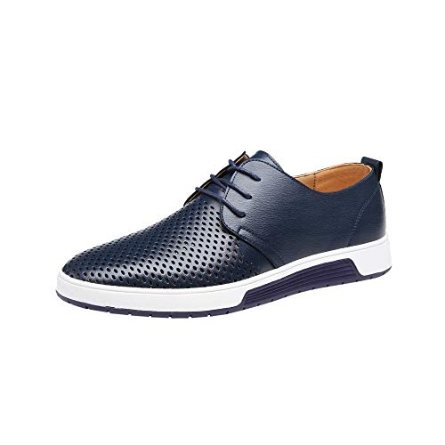 koperras Mens Hollow Leather Shoes, Men's Lightweighr Breathable Business Leisure Hollow Lace Up Shoes(US 8,Navy)