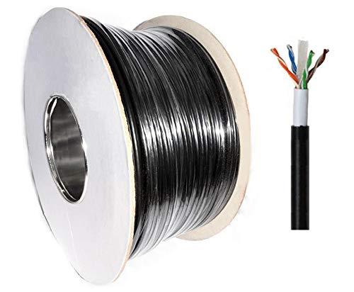 100m Cat6strapazierfähiges externes solides Kupfer Doppelt gefüttert UTP Netzwerk-Kabel für Außenbereich schwarz Spule. - Externe Netzwerk-kabel