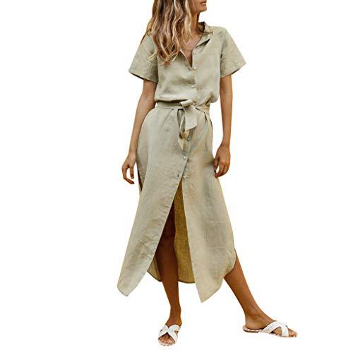 LILICAT_Kleider Sommer Stil Kleid Damen Plus Size Lässig Maxikleider Vintage V-Ausschnitt Midikleid Mode T-Shirt Loose Kleider Einfarbig Elegant Kurze Ärmel Rock