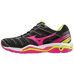 Zapatillas de pista interior para mujer Mizuno Wave Stealth 4 Estas zapatillas de alto rendimiento están diseñadas para cumplir con todas las presiones físicas que enfrentan los jugadores de pivote, con groove Dynamotion, DynamotionFit y tecnología W...