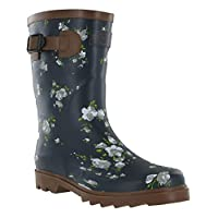 Northwest Festival Wellingtons Wide Calf 3/4 Rubber Waterproof Buckle Womens Rain Boots
