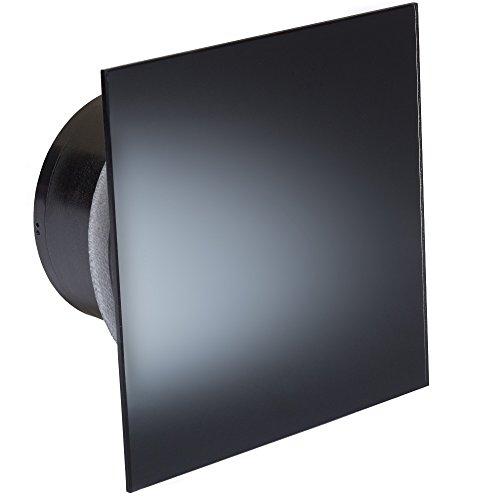 MB Ventilatoren | Badlüfter MMP-F-T 100 | Schwarz Glänzend | Edle Glasfront |Feuchtigkeitssensor | Nachlauf-Timer | Kugellager | mit Rückstauklappe |quadratisch-flach | Ø 100 - Badezimmer-ventilator-lichtschalter