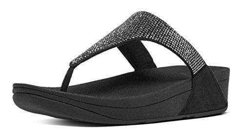 FitFlop Damen Slinky Rokkit Toe-Post Sandalen mit Absatz, Schwarz Schwarz (Schwarz)