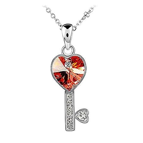 Le Premium® 'Key to My Love' Collier en forme de coeur en cristal Swarovski-Ruby