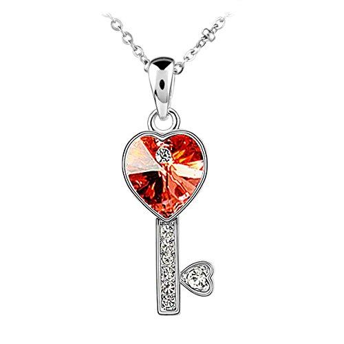 Le Premium® Collar pendiente 'Llave de mi amor' hecho con cristales en forma de corazón de Swarovski-rojo rubí