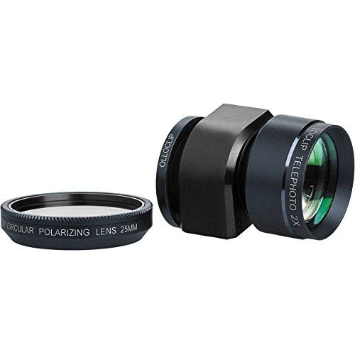 olloclip - TELEPHOTO + CIRCULAR POLORIZING LENS for iPhone 5/5s/SE - Lens: Black / Clip: Black