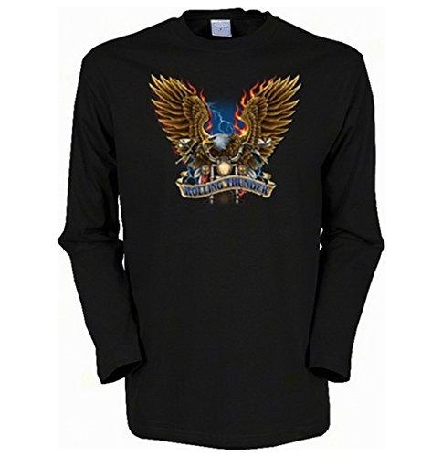 Cooles Herren Langarmshirt, Farbe: Schwarz, USA Biker Motiv: Rolling Thunder Schwarz