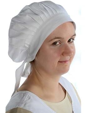 HEMAD Sombrero de algodón medieval con cintas - Blanco, Beige, Negro, Azul, Marrón, Verde, Rojo