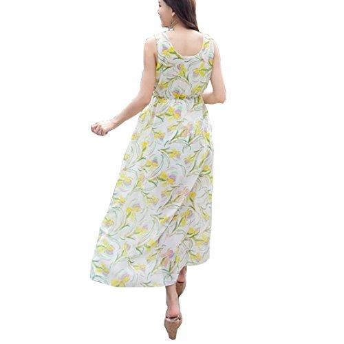 Partiss Bohême longues pour femme en mousseline de soie Multicolore - yellow and white
