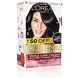 L'Oreal Paris Excellence Creme Hair Color, 1 Black, 72ml+100g (Rs 50 off)