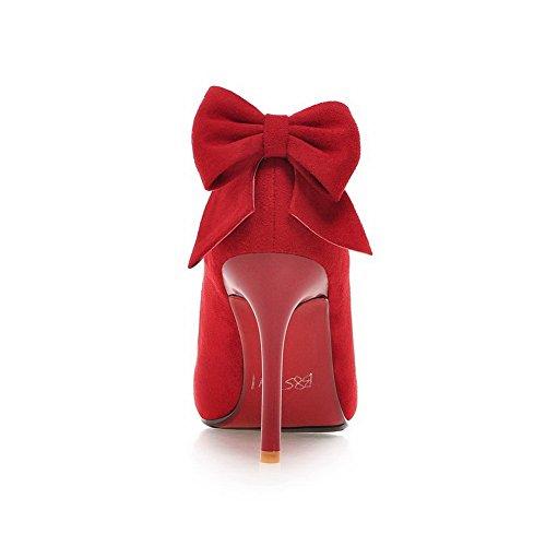 BalaMasa da donna con punta arrotondata, a forma di fiocco, pompe-Shoes Red