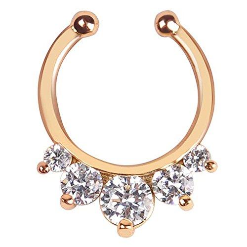 Fake Septum Clicker Nase Ring Nicht Piercing Hanger Clip Körper Schmuck (Gold)