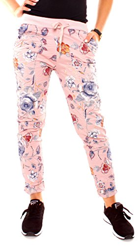 Easy Young Fashion Damen Sommer Freizeit Lounge Stretch Stoff Hose Joggpants Jogger Stil Sommerhose Lang Baumwolle Eng Blumen Muster Rosa M - 38 (L) -