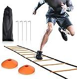 BD.Y Scala di velocità per scaletta Agility 6M a 12 gradini di buona qualità con 10 Coni e 4 picchetti