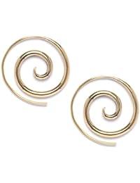 81stgeneration -Nouveau laiton doré 16g tribal paire de boucles d'oreilles en spirale