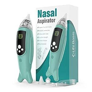 LifeBasis Baby elektronischer Nasensauger für Neugeborenen mit 5 Saugleistungen, 3 Spitzen, einstellbare Musik, sicher und hygienisch für Kleinkinder neue eingetroffen MEHRWEG