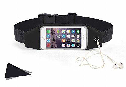 ieGeek Bolsa Multifuncional del Cintura de Deportes Al Aire Libre con Agujero de Auriculares, Impermeable y Cinta Reflectora , para el Móvil de Menos de 5.5 Pulgadas (Talla L, Negro)