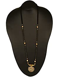 Adoreva Gold Plated Alloy Bollywood Fashion Latest Black Beaded Long Mangalsutra with Pendant