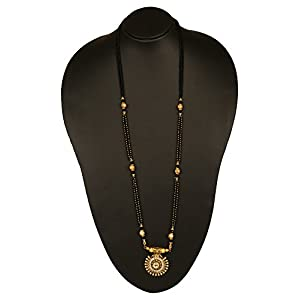 Adoreva Black Gold Plated and Alloy Mangalsutra for Women
