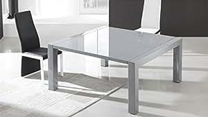 Table de salle à manger carrée extensible grise - Veliki - 120 x 120 (60) x 75