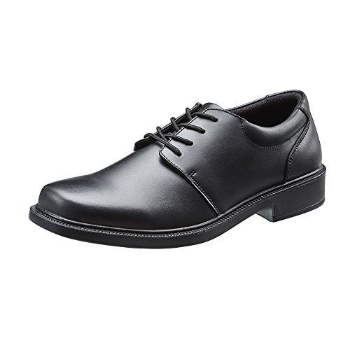 TREADS Kids School Shoes Children's Black Leather 12 Month Indestructible Guarantee, Lace up Formal Footwear with Adjustable Width 'Dual Fit' Technology, Perfect for Active Boys UK 11