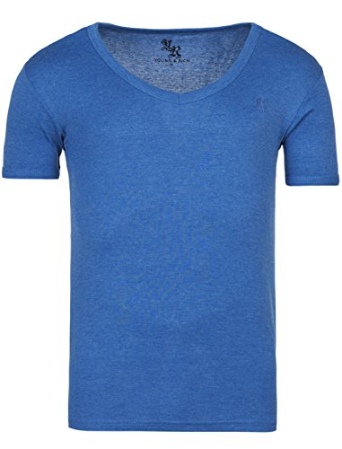 Young & Rich Basic Slim Fit V-Neck T-Shirt Uni Blau Melaniert