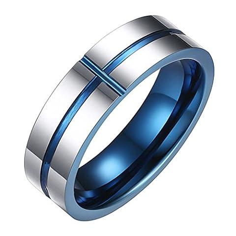 OAKKY Mens Tungsten Carbide Wedding Band Cross Ring Christian Jesus