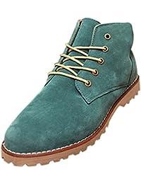 Gleader Nueva moda britanicos para hombre Casual de encaje gamuza Botines Mocasines Zapatillas de deporte Verde ( Tamano:41 )