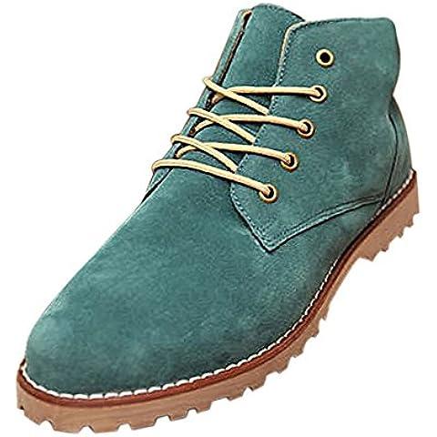 Gleader Nueva moda britanicos para hombre Casual de encaje gamuza Botines Mocasines Zapatillas de deporte Verde ( Tamano:39 )