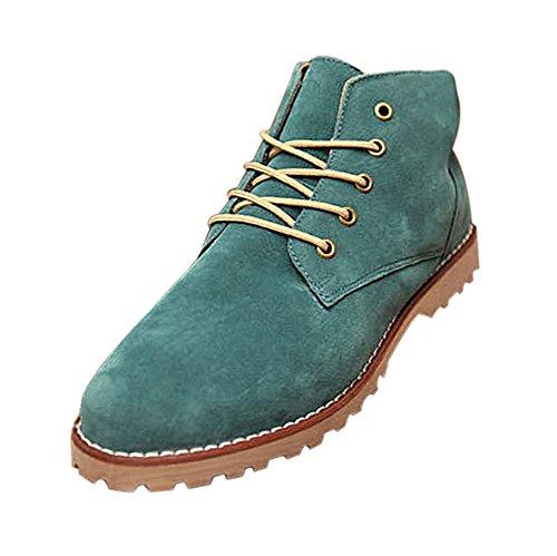 Gleader Nueva moda britanicos para hombre Casual de encaje gamuza Botines Mocasines Zapatillas de deporte Verde ( Tamano:43 )
