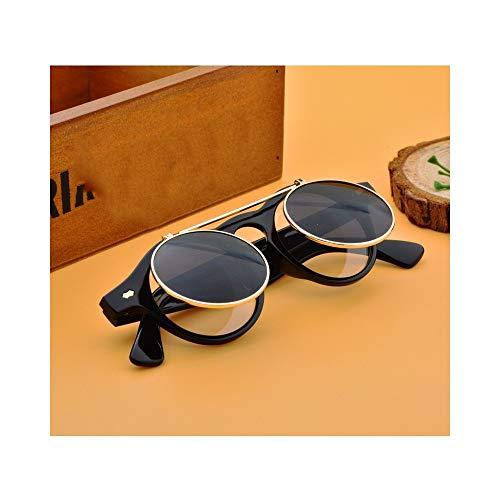 WJMLHLKK Flat Top Clamshell Brille Runde Designer Metall Retro Männer Frauen Flip Up Sonnenbrille Vintage Steampunk Sonnenbrille