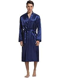 Aibrou Herren Morgenmantel Bademantel Lang Satin Nachtwäsche Kimono Sleepwear V Ausschnitt mit Gürtel