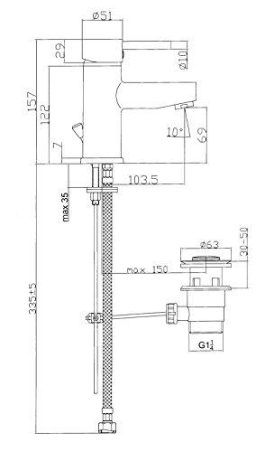Einhebel-Mischer Bad hochdruck Waschtisch-Armatur ECO Wasserhahn mit Zugstange und Waschbecken Ablaufgarnitur Mischbatterie mit Verbrühschutz inkl. Anschlussschläuchen und Befestigungsmaterial -