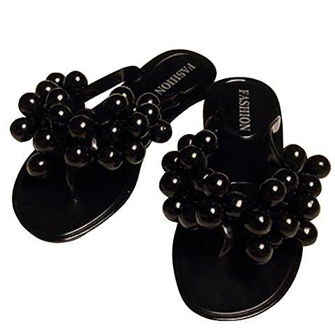Minetom Femme Plage Eté Chaussure Flip Flops Grain de Raisin Tongs Bout Ouvert Sandales Chaussons Confortable à talon plat pantoufles EUROPE Taille ( Noir EU 36 )