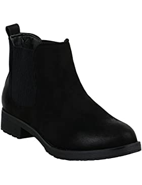 Stiefelparadies Damen Stiefeletten Velours Chelsea Boots Leder-Optik Booties London Style Übergrößen Gr. 36-42...