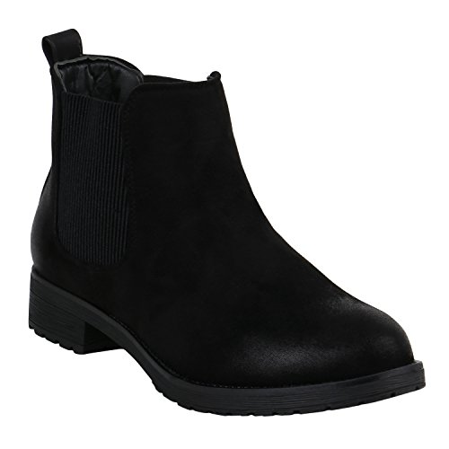 Damen Stiefeletten Chelsea Boots Leder-Optik Booties London Style Übergrößen Gr. 36-42 Blockabsatz Schuhe 127481 Schwarz Matt 42 Flandell