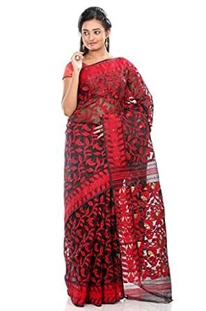 B3Fashion traditional Pure Dhakai Handloom Silk Jamdani saree in Black with Red Motifs , border and pallu with Red Motif weave and zari an elegant party wear