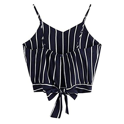 UMIPUBO Top Damen Sommer V Ausschnitt T Shirt Streifen Crop Tops Leibchen Bluse (XL (Büste:92-100cm), Schwarz)