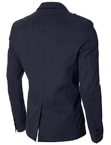 MODERNO - Slim Fit Sport Herren Sakko Blazer Jacke (MOD14518B) Dunkelblau
